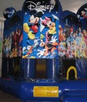 Inflatable Rentals  World of Disney 5 in 1 Combo This licensed World of Disney 5-­‐in-­‐1 combo bouncy castle brings a magical Disney experience to any party or event. Kids have hours of fun in this oversized inflatable with the slide, basketball hoop, jump space, vertical pop ups and horizontal climb ons,. This bouncy castle offers five panels of brilliant digital artwork, featuring all the beloved characters such as Mickey and pals, the Disney Princesses, Peter Pan, Alice in Wonderland and more! $290 /$350/$395 (4/6/8 hrs respectively) 23'(W) x 20'(L) x 20'(H)