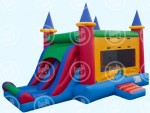 Bouncer & Slide Combo  Castle Slide Combo This brightly colored inflatable will have your guests cheering. Featuring a 10″ x 10″ bounce area, basketball hoop and dual width slide, this jumpy castle offers fun for everyone Works well with themed parties – princes and princesses are jumping crazy about this inflatable. $245 /$295/$355(4/6/8 hrs respectively) 18'(W) x 25'(L) x 16'(H)
