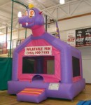 Inflatable Bouncy Castles  J.J. the Dinosaur Come frolic with J.J. the giant dinosaur and have a jumping fun adventure. 
