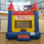 "Inflatable Bouncy Castles  You can be King of the Castle with this medieval themed bounce house. Invite all the princes and princess to join you for a jumping good time. Add on the King throne Chair for the ultimate ""king of the Day"" experience! $155/$175/$195 (4/6/8 hrs respectively) 13'(W) x 13'(L) x 14'(H)"