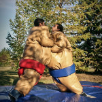 Sumo Suits Rentals  Adult Sumo Suits Giant Sumo Suits complete with competition mat. Bring out your inner sumo wrestler with these larger than life sumo suits. Get suited up, than bump, wrestle and suplex your friends to see who is the ultimate Sumo Wrestler. Great for all types of events where interactive fun is the name of the game. Sumo suits people fit 5' and up. 240 /$295/$355(4/6/8 hrs respectively)