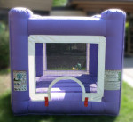 Inflatable Bouncy Castles  Purple Toddler Inflatable Just the right size for the little guys. A great add on to any rental. This mini-­‐jump house gives your little party guests (who are just learning to jump) a safe space to have fun too $75/$85/$95 (4/6/8 hrs respectively) 6'(W) x 6'(L) x 6(H)