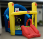 Inflatable Bouncy Castles  Sport Toddler Inflatable Sports themed inflatable with a junior sized slide. This tent provides a soft, safe environment where your toddler can have a jumping good time. A great add on to any rental 