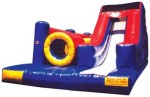 Inflatable Rentals  Ninja Challenge Obstacle Course With its slide, tunnel and sleek design, this 30 ft Ninja Challenge Inflatable gives an action packed punch to any event, festival or party. Kids can choose from several different fun and engaging activities in this red, blue and yellow inflatable play structure. $395/$465/$500(4/6/8 hrs respectively) 16' (W) x 31'(L) x 13'(H)