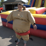Sumo Ball Are you a Dodge Ball champ? Then try it Sumo style. Suit up in our Adult or Junior Sumo Suits, then run, jump and dodge the ball. Last sumo standing wins! . Comes with 4 sumo suits and dodge ball. $395/$465/$500 (4/6/8 hrs respectively)